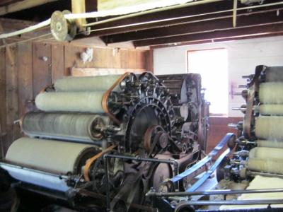 Carding machines in the woolen mill