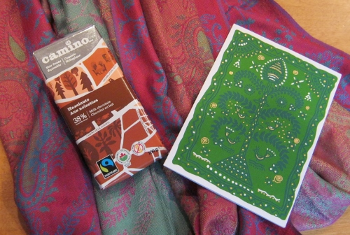 Stole, chocolate, and card, all fair trade gifts from Ten Thousand Villages